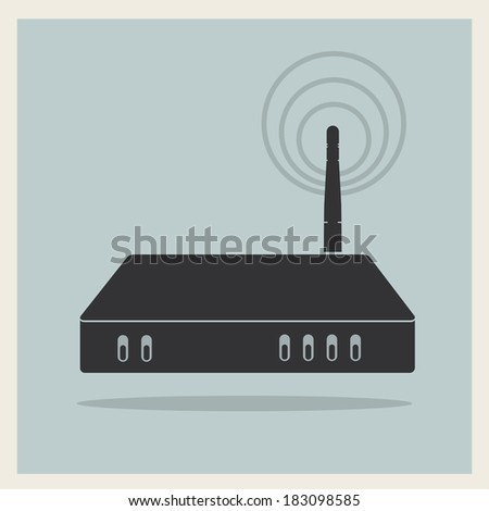 Wi-Fi Router on Retro Background Vector - stock vector