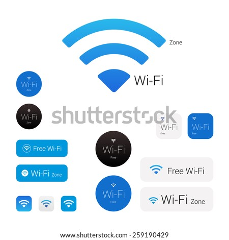 Wi-fi stylish modern logo, icons, signs and stickers - stock vector