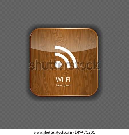 Wi-fi wood  application icons - stock vector
