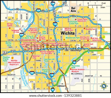 Wichita Kansas Area Map