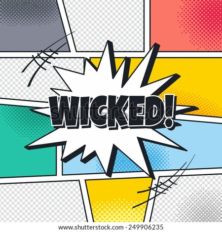 wicked cartoon theme blasting speech - stock vector
