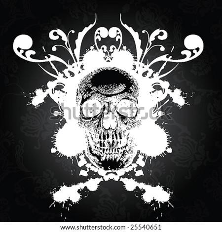 Wicked floral skull illustration - stock vector