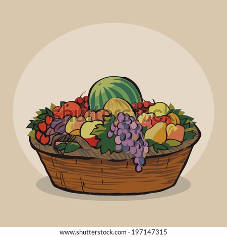 Wicker basket with a crop of fresh and juicy fruit vector illustration - stock vector