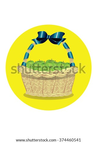 wicker basket with apples - stock vector