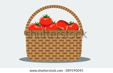 Wicker basket with fresh organic tomatoes. Illustrated vector with solid flat color design.
