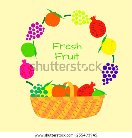 Wicker basket with fruit. Frame of fruits and inscription Fresh