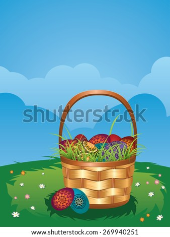 Wicker Easter basket with colorful eggs on green lawn.