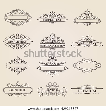 Wicker lines old decor elements vector stock vector 429313897 wicker lines and old decor elements in vector vintage borders frame and rosette in junglespirit Choice Image