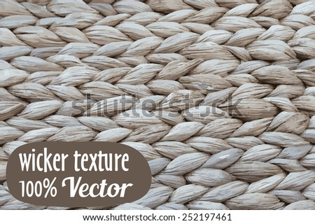 Wicker texture background. Vector illustration in rustic style - stock vector