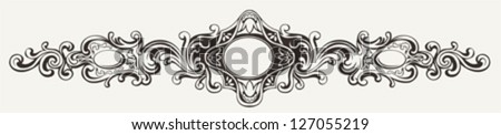 Wide Antique Ornate Frame Engraving - stock vector
