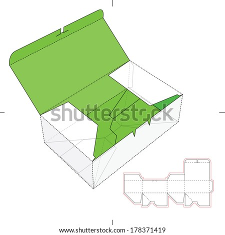 Wide Bo with Auto lock Bottom and Die-cut Layout - stock vector
