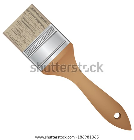 Wide brush for painting work. Vector illustration. - stock vector