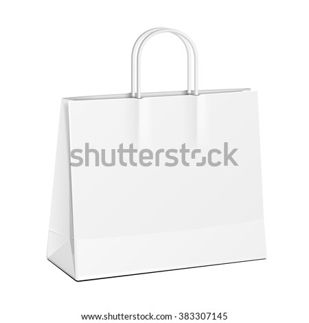 Wide Carrier Paper Bag White. Illustration Isolated On White Background. Mock Up Template Ready For Your Design. Product Packing Vector EPS10 - stock vector