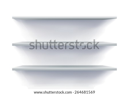 Wide Empty Shelves in 3D View - stock vector
