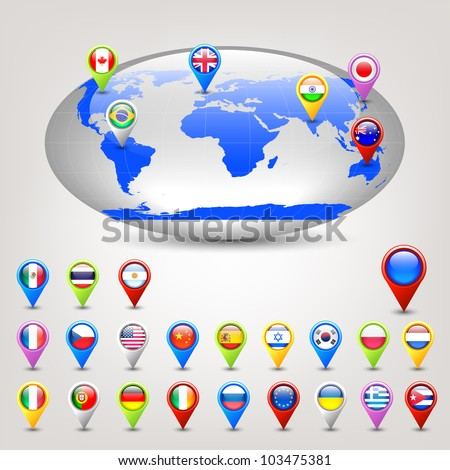 wide globe and pins with flags vector - stock vector