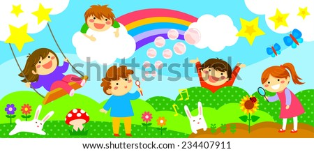 wide horizontal strip with happy kids playing in a fantasy world - stock vector