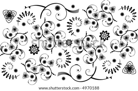 Wide, intricate vector pattern with deco-like swirls and flowers. - stock vector
