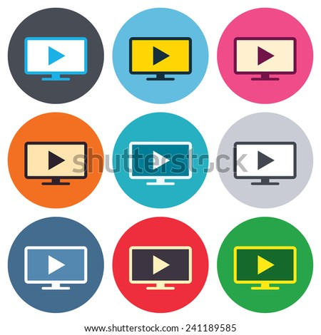Widescreen TV mode sign icon. Television set symbol. Colored round buttons. Flat design circle icons set. Vector - stock vector