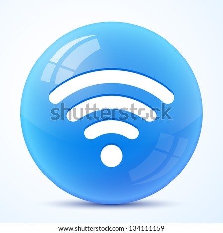 wifi blue symbol isolated - stock vector