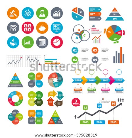 Wifi, calendar and web icons. Money, cash and finance icons. Handshake, piggy bank and currency exchange signs. Chart, auction and businessman symbols. Diagram charts design. - stock vector
