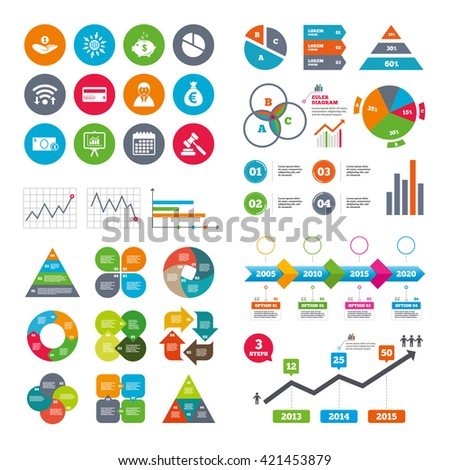 Wifi, calendar and web icons. Money, cash and finance icons. Piggy bank, credit card and auction signs. Presentation, pie chart and businessman symbols. Diagram charts design. - stock vector