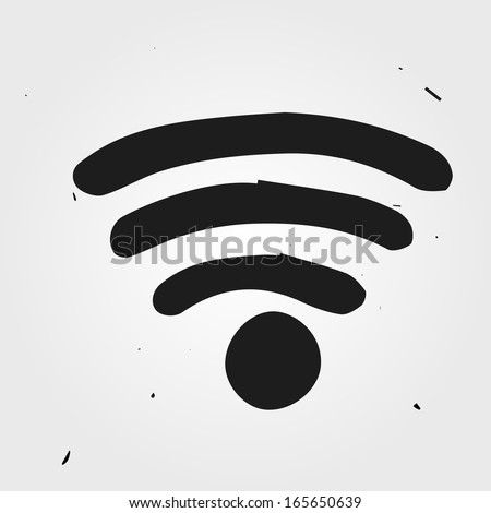 wifi hand drawn - stock vector