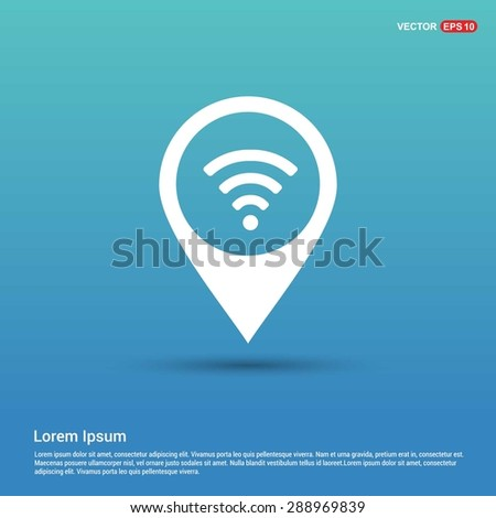wifi icon - abstract logo type icon - white icon in map pin point showing free wifi internet location blue background. Vector illustration - stock vector