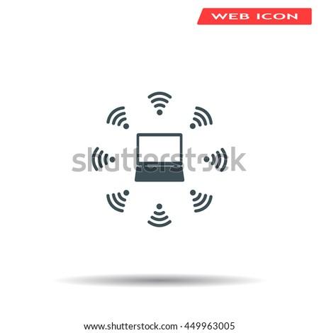 WiFi icon around the computer - stock vector