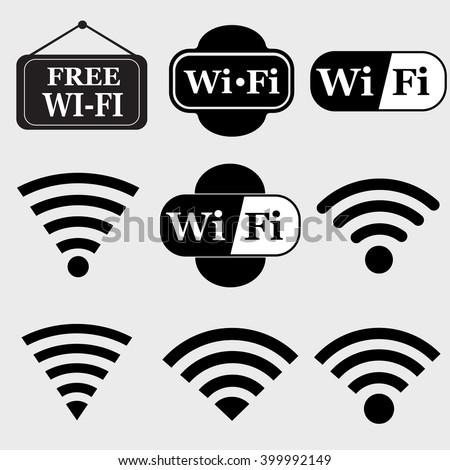 Wifi  icon set.Wireless vector - stock vector