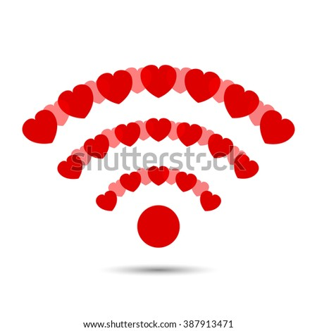 Wifi icon. Vector wi-fi isolated. red hearts composed icon. Internet wifi icon. Web icon. Hot spot wireless icon. Wifi isolated. - stock vector