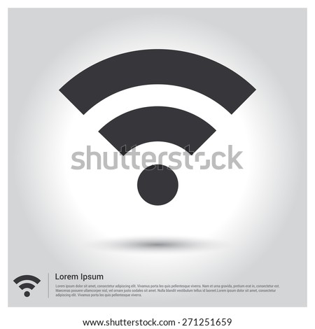 wifi icon, wi-fi Icon pictogram icon on gray background. Vector illustration for web site, mobile application. Simple flat metro design style. Outline Icon. Flat design style - stock vector
