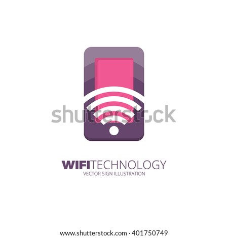 Wifi internet and network creative logo concept. Mobile WiFi sharing symbol. Mobile Technology sign. - stock vector