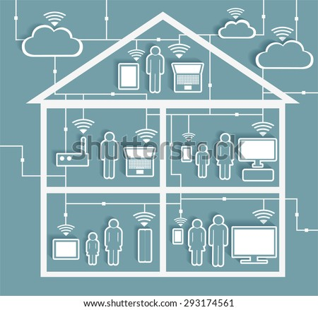 Wifi Internet Connectivity concept - Cloud Computing Paper Cutout Stickers with Cutaway Residential House - EPS10 Grouped and Layered, contains blends  - stock vector