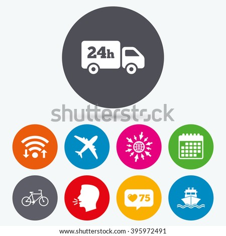 Wifi, like counter and calendar icons. Cargo truck and shipping icons. Shipping and eco bicycle delivery signs. Transport symbols. 24h service. Human talk, go to web.