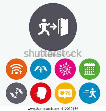 Wifi, like counter and calendar icons. Life insurance hands protection icon. Human running symbol. Emergency exit with arrow sign. Human talk, go to web. - stock vector