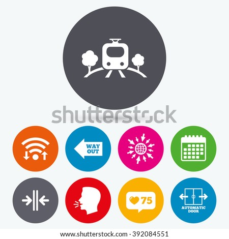 Wifi, like counter and calendar icons. Train railway icon. Overground transport. Automatic door symbol. Way out arrow sign. Human talk, go to web. - stock vector