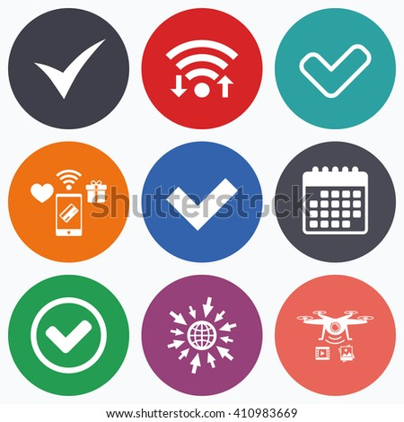 Wifi, mobile payments and drones icons. Check icons. Checkbox confirm circle sign symbols. Calendar symbol. - stock vector