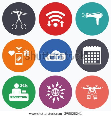 Wifi, mobile payments and drones icons. Hotel services icons. Wi-fi, Hairdryer in room signs. Wireless Network. Hairdresser or barbershop symbol. Reception registration table. Calendar symbol. - stock vector