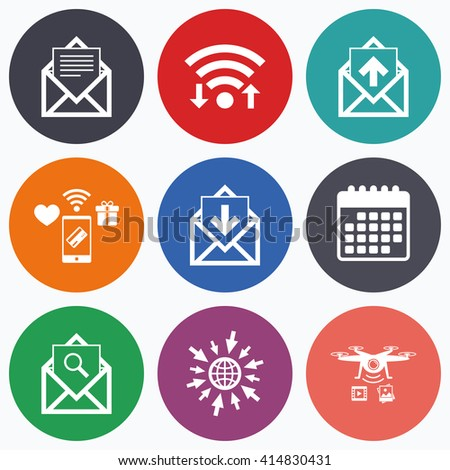 Wifi, mobile payments and drones icons. Mail envelope icons. Find message document symbol. Post office letter signs. Inbox and outbox message icons. Calendar symbol. - stock vector