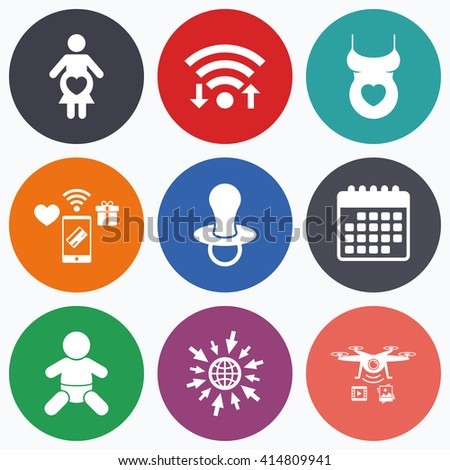 Wifi, mobile payments and drones icons. Maternity icons. Baby infant, pregnancy and dummy signs. Child pacifier symbols. Shirt with heart. Calendar symbol. - stock vector