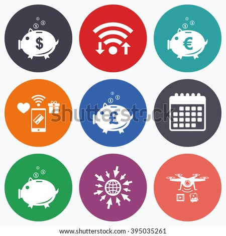Wifi, mobile payments and drones icons. Piggy bank icons. Dollar, Euro and Pound moneybox signs. Cash coin money symbols. Calendar symbol. - stock vector