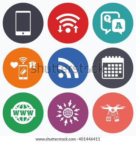 Wifi, mobile payments and drones icons. Question answer icon.  Smartphone and Q&A chat speech bubble symbols. RSS feed and internet globe signs. Communication Calendar symbol. - stock vector