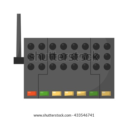 Wifi modem router isolated on white. Router detailed flat icon graphic illustration. Flat wi-fi modem technology. Flat wi-fi modem digital design. - stock vector