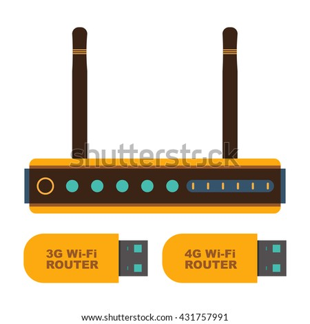 Wifi router and portable 3G - 4G Wi-Fi router icons - stock vector