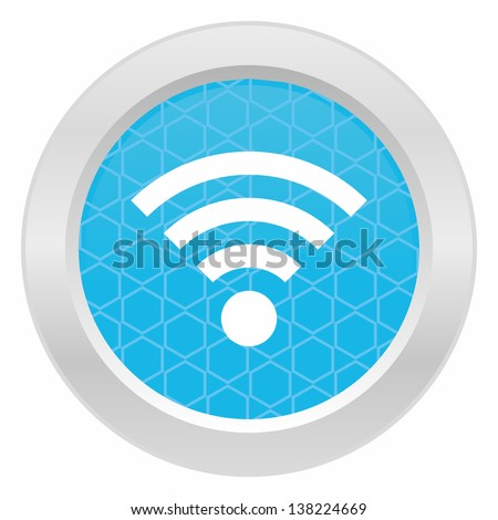 Wifi sign - Blue button with metallic frame on white background - stock vector
