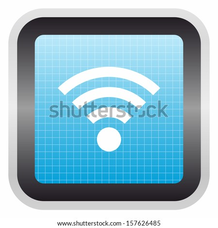 Wifi sign (glossy screen button, blue version)  - stock vector