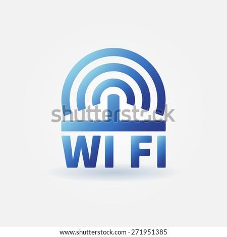 WiFi vector blue icon - wi-fi logo or sign - stock vector