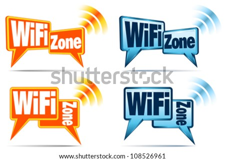 WiFi Zone Icons - Speech bubbles with signal for WiFi Connection - stock vector