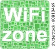 Wifi zone in a mosaic of squares - stock vector