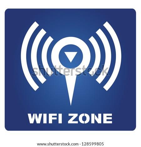 wifi zone sign - stock vector